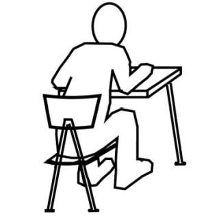 Krumme Sitzhaltung auf dem Bürostuhl
